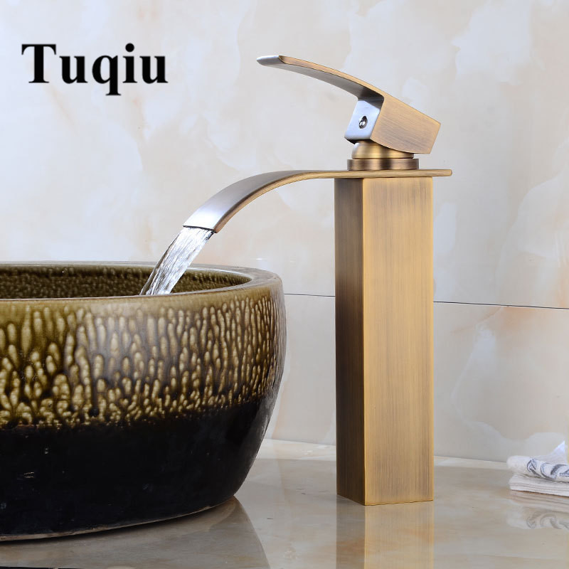 New Arrival brass Basin Faucet hot and cold Antique Waterfall Faucet single lever bathroom sink faucet basin tap Lavatory Tap new arrival top high quality brass single lever chrome hot and cold bathroom sink waterfall faucet basin tap