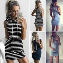 Hot Fashion Summer Women Sleeveless Hoodie Dress Solid O-Neck Slim Bodycon Party Evening Short Straight Mini