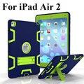 Para apple ipad air 2 armor hybrid a prueba de golpes cubierta del soporte de protección case para ipad 6