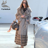 Furealux реального супер длинные пальто норковые шубы для Для женщин женский норковая шуба юбка плюс Размеры Толстая Теплая Зимняя куртка опто