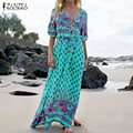 Vestidos 2017 ZANZEA Women Sexy Maxi Long Dress Long Sleeve V Neck High Waist Casual Loose Print Party Beach Dress Oversized