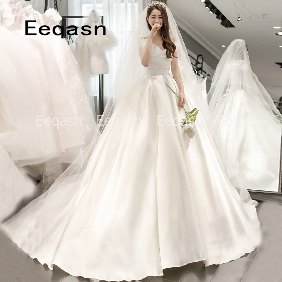 Romantic Off Shoulder V Neck Ball Gown Wedding Dresses 2019 Asian Floor Length Wedding Gowns Mariage Vestido Novia Cheap Online