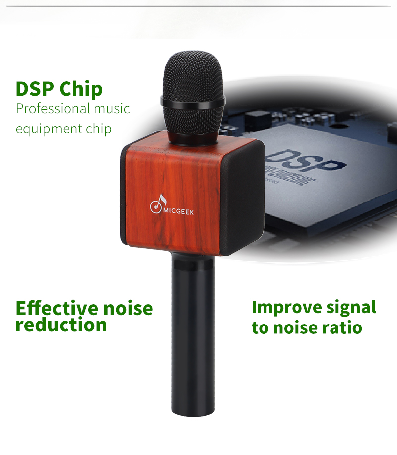 Original brand MicGeek ELF Wireless Karaoke Microphone 2 1 Sound Track  Natural Rosewood DSP Chip Voice Speakers Smartphone