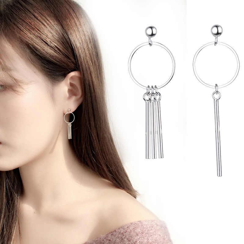 925 Sterling Silver Laporan Anting-Anting Geometris Anting-Anting untuk Wanita Menggantung Anting-Anting Menjuntai Drop Anting Modern Perhiasan A159