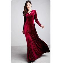 Fashion womens autumn and winter wear long sleeve v-neck big swing  dress. Red black purple dark green pleuche dress