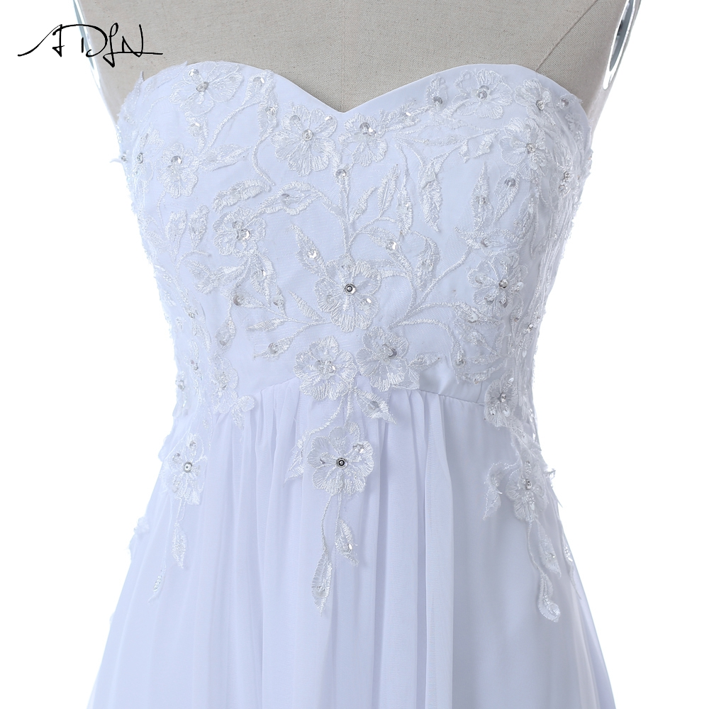Embroidery Beading Sequins Empire Sweetheart Long Beach Wedding Dress 5