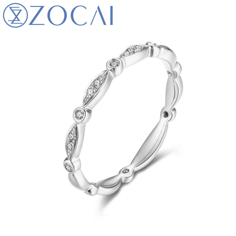 ZOCAI 100% Genuine 18K Rose Gold (Au750) Real 0.04CT H/ SI Round Cut Diamond Women Ring JBW00915ZOCAI 100% Genuine 18K Rose Gold (Au750) Real 0.04CT H/ SI Round Cut Diamond Women Ring JBW00915
