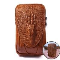 Moda cuero cinturón hombres bolsa Cuero auténtico vaca cubierta para iPhone/Samsung/Huawei bolso de la cintura del clip de la correa 4.7 ~ 6.0''