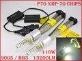 DHL 4 Conjunto 13200LM P70 110 W 9005 HB3/9006 HB4 LEVOU Kit farol XHP70 Chip Fanless Condução Farol de SUPER Branco 6000 K H4 H8 H11