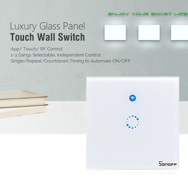 Sonoff T1 Smart Switch 1-3Gang EU UK WiFi & RF 86 Type Smart Wall Touch Light Switch Smart Home Automation Module Remote Control 1