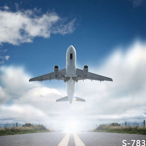 10x10FT Clouds Blue Sky Airport Flying Plane Track Lane
