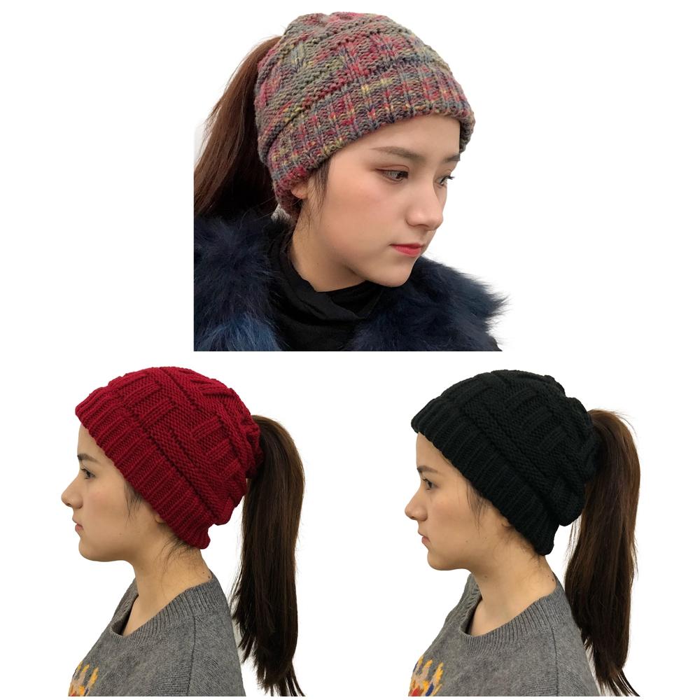 Fashion Ponytail Beanie Women Winter Hats Crochet Knitted Bamboo Ski Cap Skullies Beanies Warm Caps Female Stylish Hat Ladies