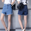 Plus tamaño de mezclilla jeans shorts, verano mujer estilo 2016 feminino bermuda feminina Retro de cintura alta de mezclilla cortos femeninos A0289