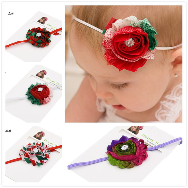 6pcs Red Green Shabby Flower Rose Headband Christmas Hair Bows Photo Prop Accessories For