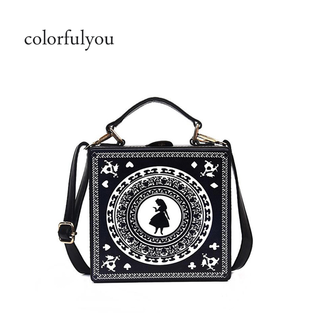 41cd6e9258 Cartoon girl prints box handbag Black pu leather tote bag casual ladies shoulder  bag vintage handbag female crossbody messenger