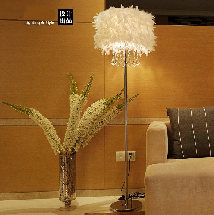 Feather Floor Lamp K9 Crystal Lamp Home Lighting Living Room Dining Room Bedroom Stand Light Red/White/Black ZL338 modern home decoration living room feather crystal floor lamp creative bedroom feather lamp coffee shop light free shipping