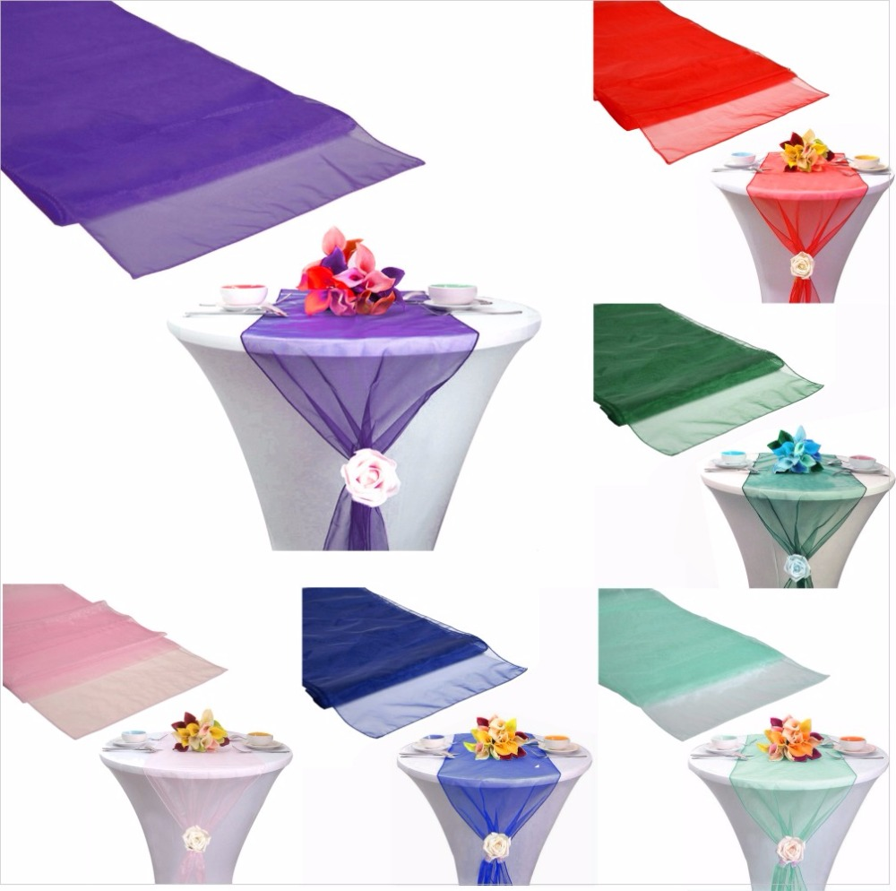 Fashion Organza Table Runner Tablecloth Cover Soft Sheer Fabric Chair Bows Swag Wedding 30*275CM Xmas Party Banquet Table Decor