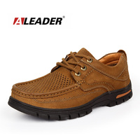 Mens Genuine Leather Oxfords Sneakers 2015 Summer Casual Breathable Leather Shoes Hand Made Lace Up