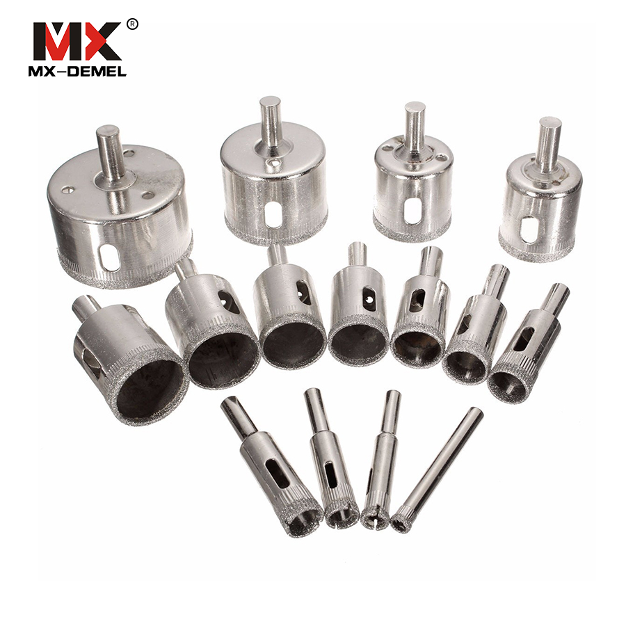 MX-DEMEL 15pcs Diamond Coated Drill Bits Set Tile Marble Glass Ceramic Hole Saw Electric Drill Bits Power Tools Mayitr 6mm-50mm diamond coated hole saw set core drill bit tile marble glass ceramic porcelain