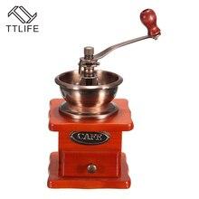 TTLIFE Mini Profesional Molino de Café Manual Molinillo de Café Con Movimiento De Cerámica Retro De Madera Del Hogar Frijoles Nueces Amoladoras Molino