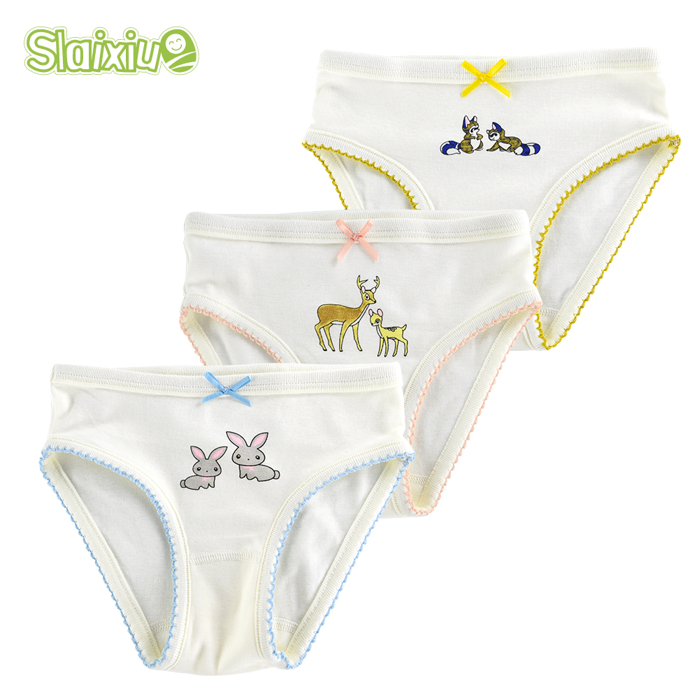 SLAIXIU 3 Pcs/Lot Cotton Girls Briefs Cute Bow Tie Kids Underwear For Girl Underpants Short Panties For Children's Baby Clothing