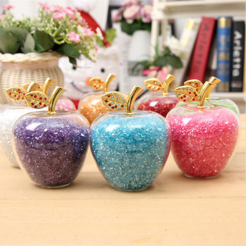 7 Color Crystal Glass Apple Paperweight with Diamonds Natural Stone Crafts Home Decor Ornaments Fruit Figurines Gifts Souvenirs