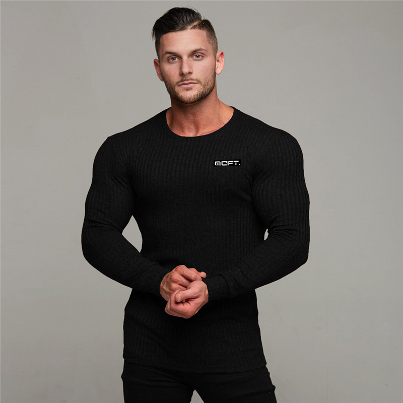 Muscleguys 2019 Autumn Casual Men's Sweater O-Neck Striped Slim Fit Knittwear Mens Sweaters Pullovers Pullover Men Pull Homme