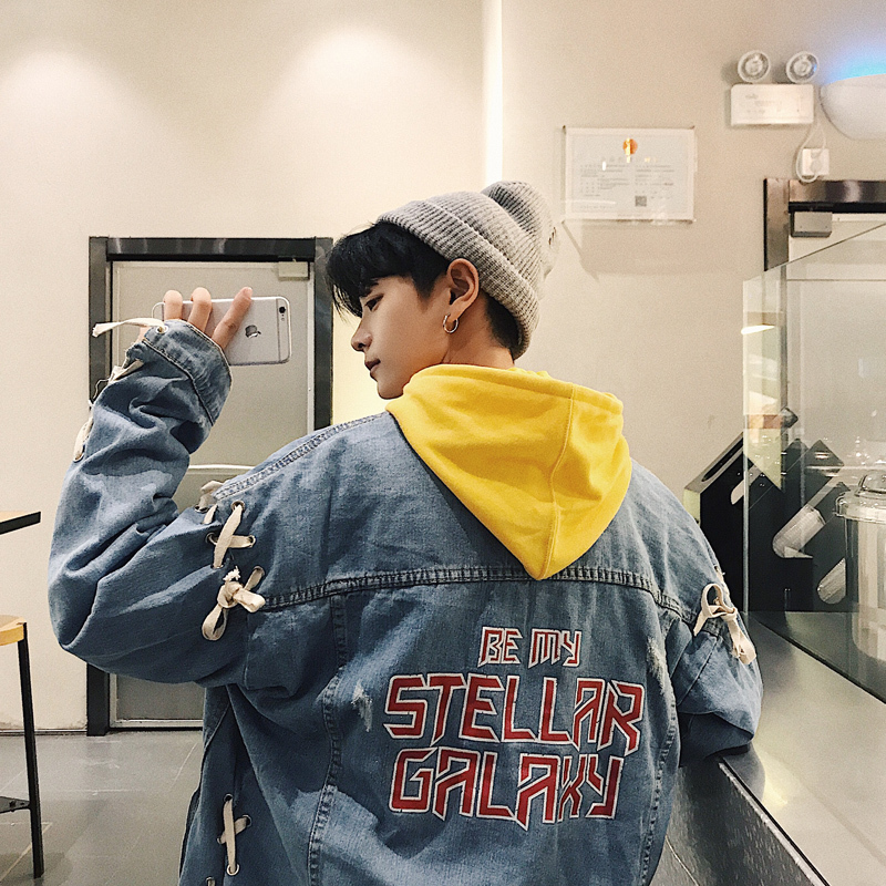 Spring 2018 new men's handsome style casual denim jacket Korean fashion trend student hip hop personality wear