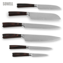Handmade kitchen knife set stainless steel six-piece set kitchen tools sharp edge laser Damascus wave pattern new cooking knives