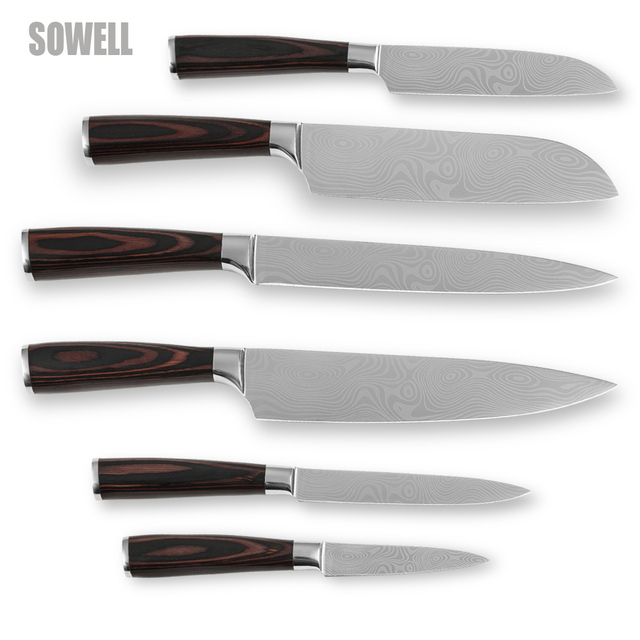Handmade Kitchen Knife Set Stainless Steel Six Piece Set Kitchen Tools  Sharp Edge Laser Damascus