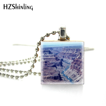 New Trendy Novel Fashion Broad and Magnificent the Grand Canyon Tiles Travel Theme Pictures Wooden Scrabble Tile Jewelry image