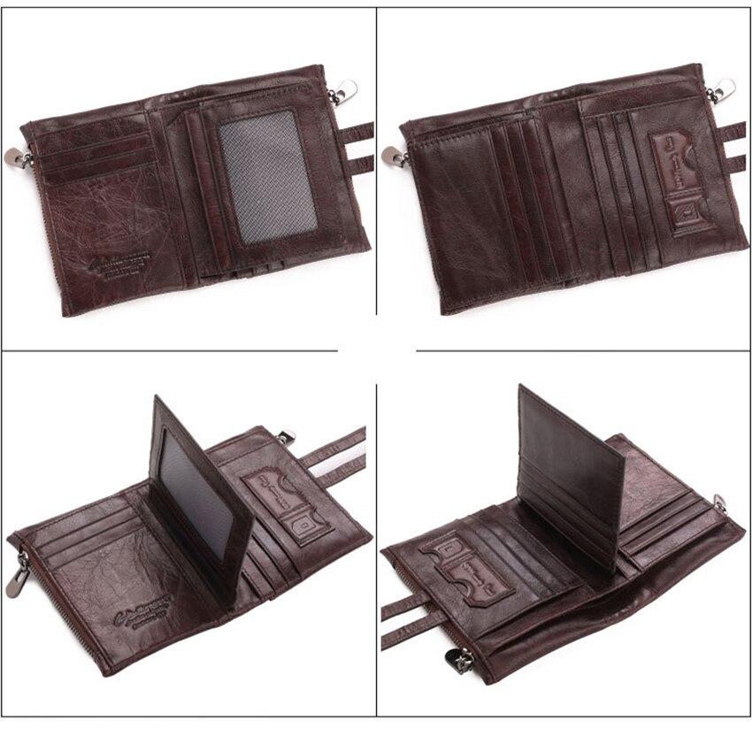 Artmi Mens Äkta Läder Bifold Kort Väska Plånbok Dubbla Zipper - Plånböcker - Foto 4