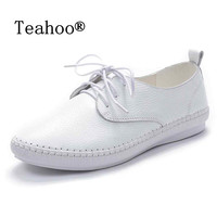 2016 Autumn Casual Soft Flats Shoes Woman White Black Real Leather Shoes Flats Moccasins Loafers Ladies