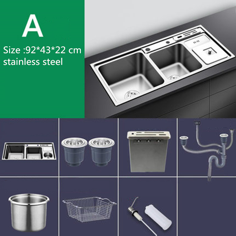 Sink Set Kitchen Sink Stainless Steel Nano Sink Three Trough with Trash Can Knife Holder Sink Brushed Silver 92 * 43cm