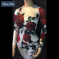Christia Bella Fashion Floral Crystals Jumpsuit Women Sexy Stretch Skinny Rhinestone Bodysuit Party Stage Performance Outfits
