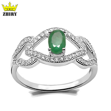 100% Natural Green Emerald Gem Ring Genuine solid 925 sterling silver Real Precious Stone gold plated eye rings women Jewelry