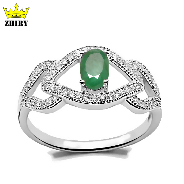 Natural Green Emerald Gem Ring Genuine solid 925 sterling silver Real Precious Stone rings women Jewelry