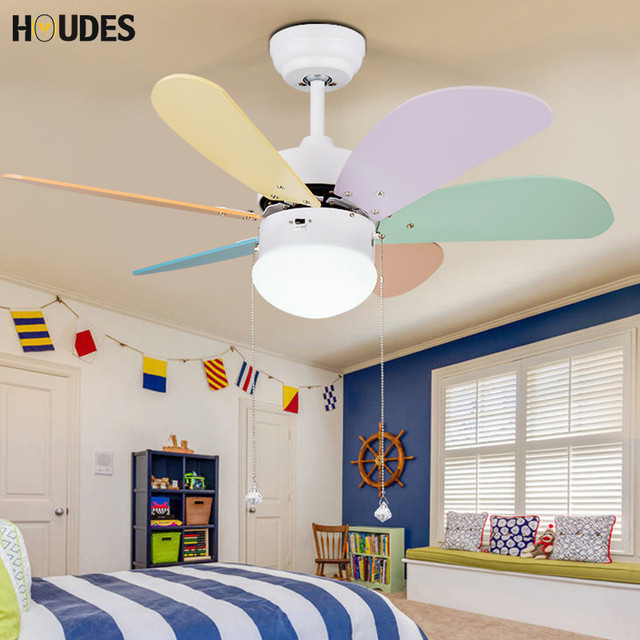 European Led Ceiling Fan Color Children Light Cooling Room Bedroom Baby Lighting Lamps
