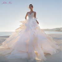 Julia Kui Sweethart Neck Puffy A Line Wedding Dress With Organza And Tulle Elegant Spaghetti Straps Design
