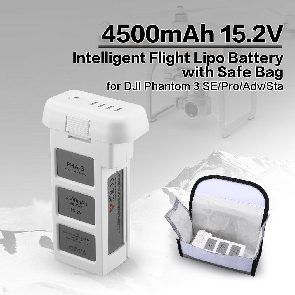 Batterie intelligente de LiPo de vol de 4500 mAh 15.2 V 4 S avec le sac sûr pour le Drone professionnel avancé de RC du fantôme 3 SE de DJI