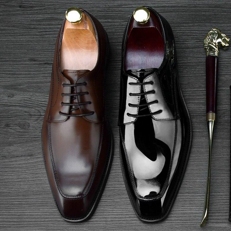 Hombre Pie Derby Lujo Vestir Ne70 De Zapatos Dedo Hombres La Boda Negro marrón Hecho Mano Genuino Cuadrado 2018 Moderno Calzado Del Partido Formal Oxfords Cuero A YXqx0