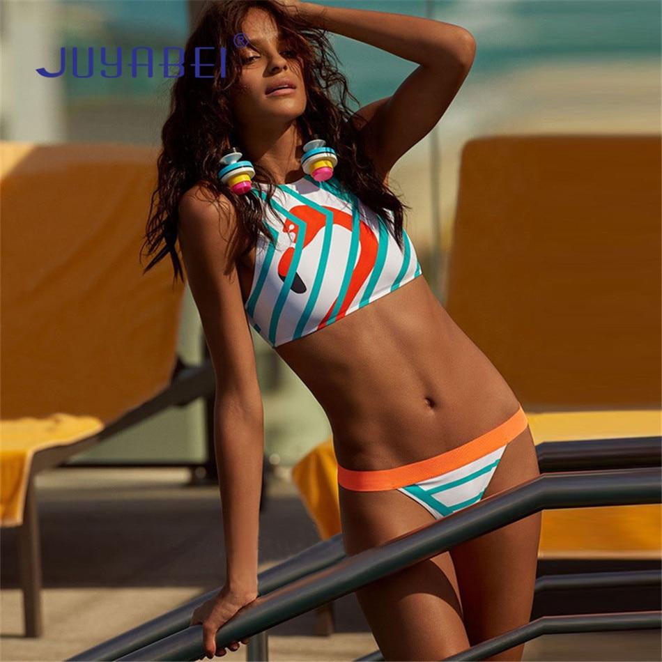 JUYABEI Sexy Frauen Zwei-stück High Neck Bikini Set Sport Stil Niedrige Taille Bademode Bademode Badeanzug Flamingo Badeanzug Drucken anzug