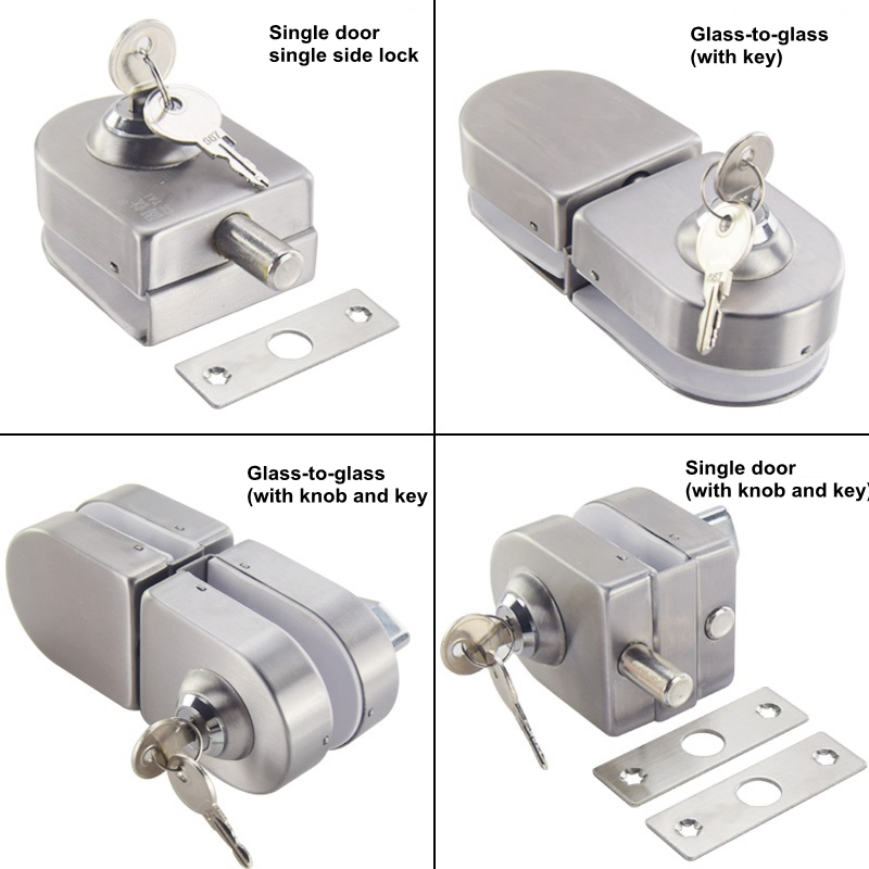 304 Stainless Steel Antitheft Security Glass Door Lock for 10-12mm Thickness