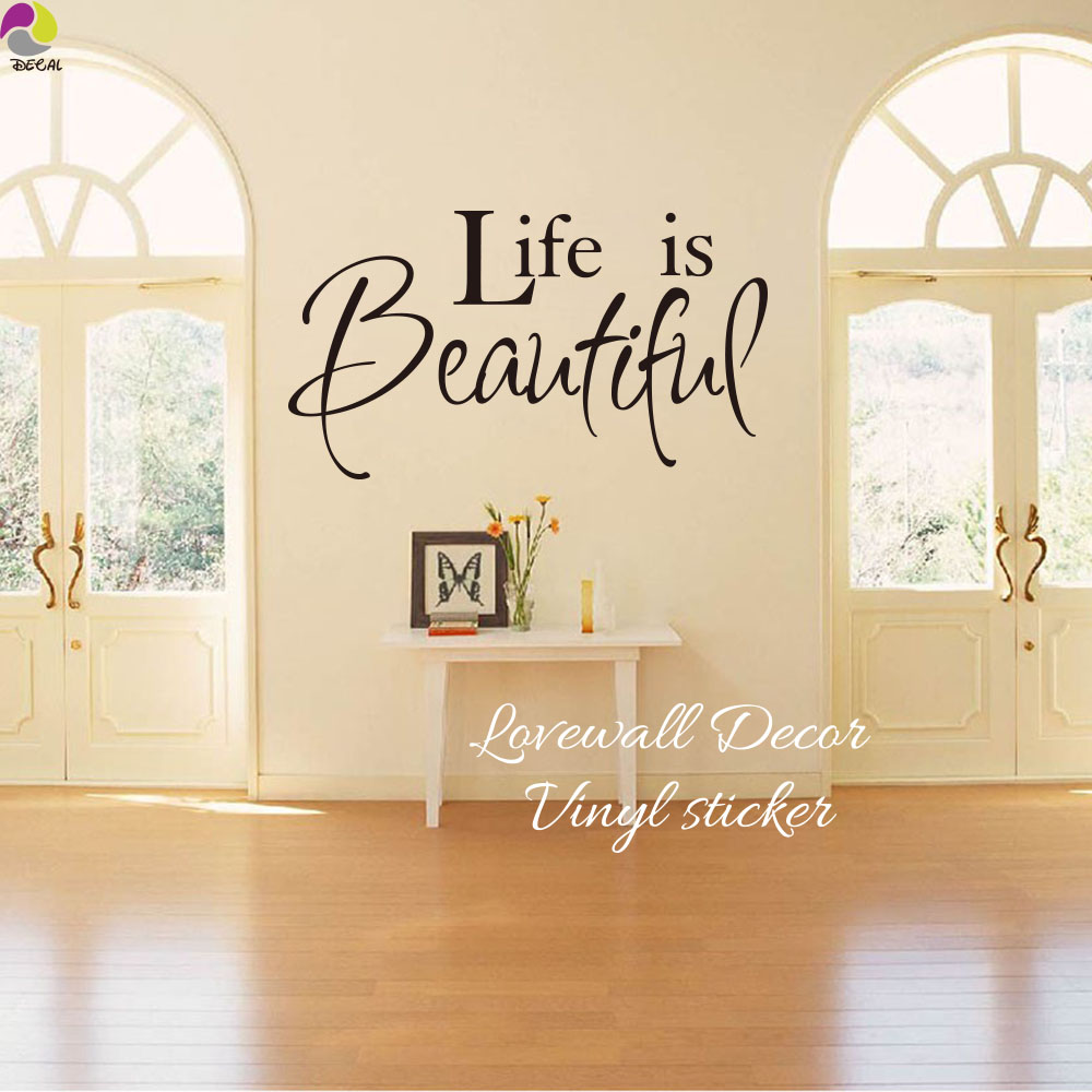 Life is beautiful quote wall sticker bedroom living room - Beautiful wall stickers for living room ...