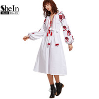 SheIn Boho Dress White Tassel Tied Plunge Neck Long Sleeve Embroidered Peasant Dress Vintage A Line