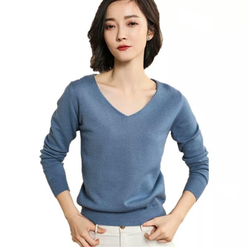 Women Sweaters Pullovers Knitted winter sweater Female V Neck Knitwear Long Sleeve winter clothes streetwear