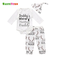 Newborn Baby Coming Home Outfits Set Long Sleeve 2017 Autumn Boy Girl Letter Antlers Romper Jumpsuit