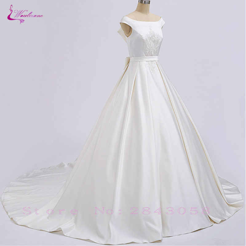 Waulizane New Arrival Lustrous Satin Elegant A-Line Wedding Dresses Floor- Length Unique Embroidery d865462f7fcd