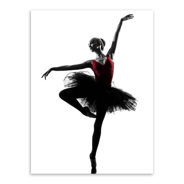 Modern black white ballet dancer silhouette beauty girl