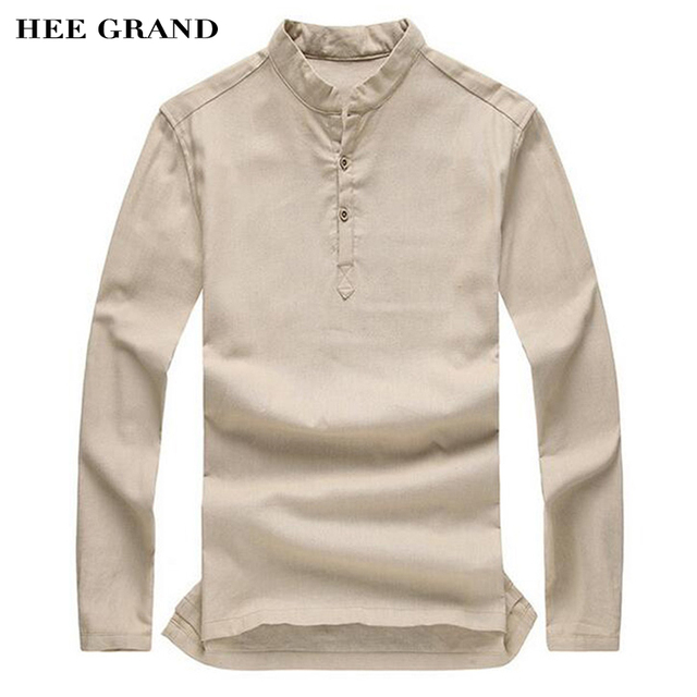 HEE GRAND Men Fashion Long Sleeve T-shirts Stand Collar Solid Color Linen Cozy Material T-shirts Hot Sale Plus Size M-3XL MTL800